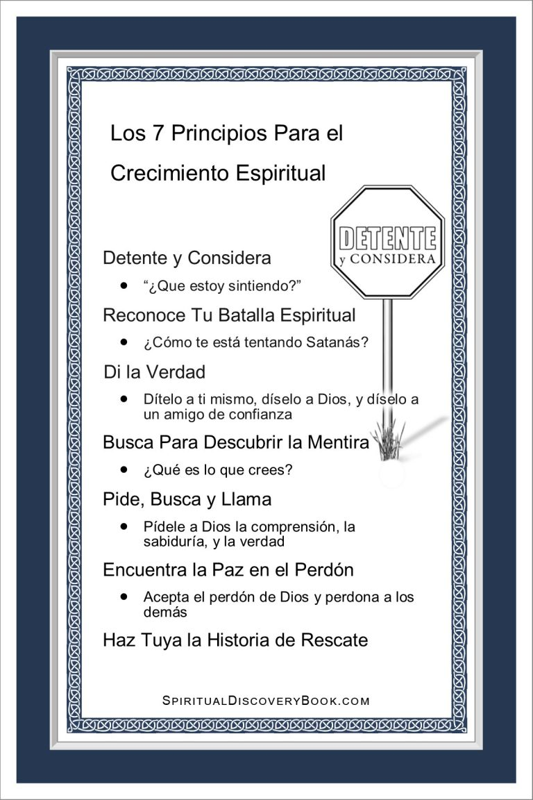 Spanish 7 Principles 4x6 blue on white